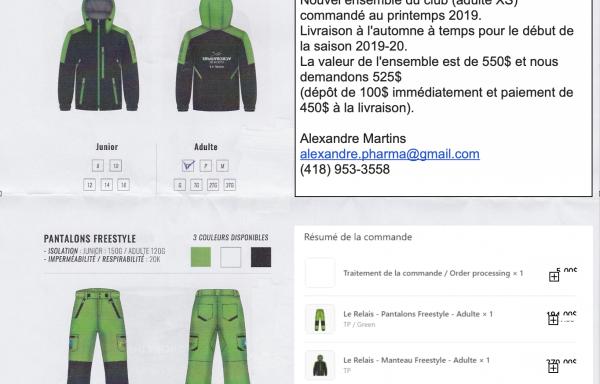 72 – À vendre – Nouvel ensemble de ski Apogee neuf (manteau et pantalon)